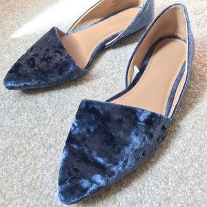 Blue Velvet Flats